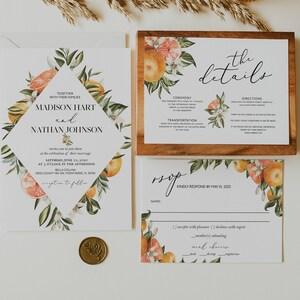 Lemon Citrus Wedding Invitation Suite  #1212