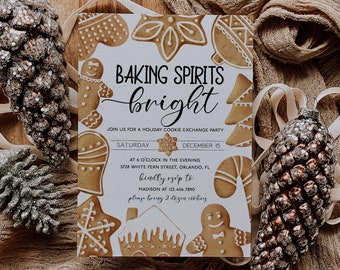 Christmas Cookie Exchange Invitation Template Baking Spirits Bright Editable Cookie Party Invitation Holiday Exchange Party Corjl WP284
