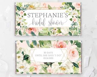blush floral bridal shower chocolate bar wrapper template bridal shower candy bar wrapper greenery bridal shower candy bar wp423