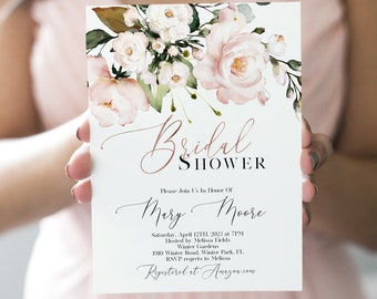 Blush /& Navy Miss to Mrs Bridal Shower Invitation Template Printable Digital Download Watercolor Bridal Shower Classic Bridal Shower Invite