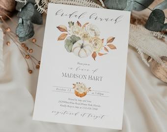 Fall Bridal brunch Invitation Template Pumpkin Bridal Shower Editable Invite White Pumpkin Instant Download Digital Invitation Corjl WP6829