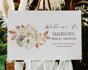 Fall bridal shower welcome sign Template Pumpkin Printable Welcome Sign Instant Download Autumn Editable Welcome Corjl WP6829