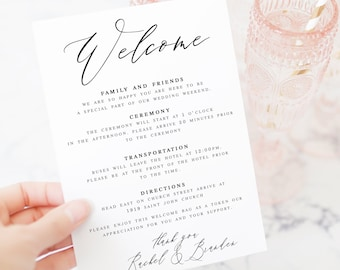 Wedding Welcome Note Etsy