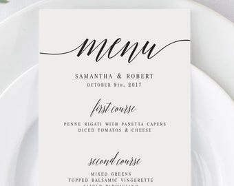 image about Printable Menu Template called Printable menu Etsy