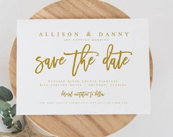 Diy save the date etsy gold save the date template diy shower template pdf save the date template wedding printable save our date template junglespirit Gallery
