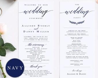 navy elegant calligraphy wedding program template modern wedding program template wedding program printable wedding ceremony template