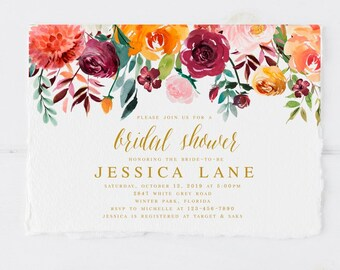 Fall Bridal Shower Etsy - Fall bridal shower invitation templates