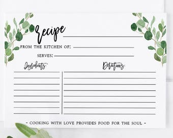 photograph relating to Free Printable Recipe Cards for Bridal Shower named Recipe card include Etsy