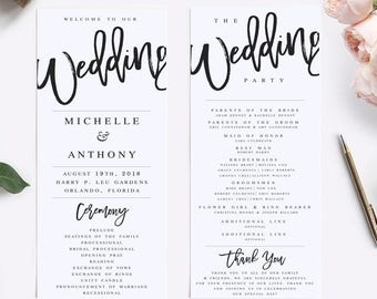 Wedding Program Template Modern Wedding Program Template Rustic Wedding Program Wedding Program Printable Wedding Ceremony Template #WP40