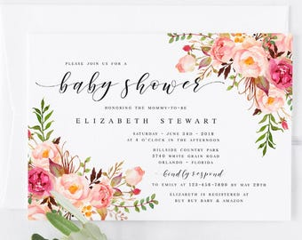 Spring baby shower etsy pink bohemian floral spring baby shower invitation template diy baby shower template pink baby shower invitation modern baby shower template filmwisefo