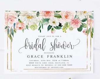 blush floral bridal shower invitation template pink floral bridal shower invite peach bridal shower invitation editable template wp423