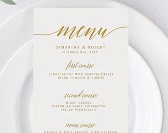 Gold Elegant Wedding Menu Template Wedding Menu Editable Wedding Menu DIY Black and White Menu Modern Wedding Menu Printable Menu