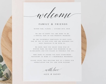 modern calligraphy welcome wedding letter template welcome note template wedding letter welcome card welcome welcome wedding bag note wp30