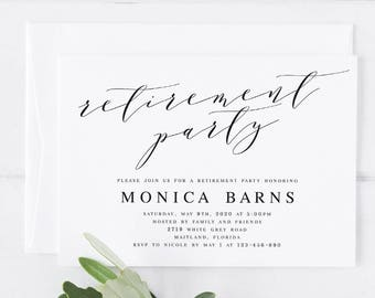 white floral retirement party invitation template printable etsy