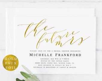 gold future mrs bridal shower invitation template future mrs invite modern bridal shower invite mrs editable pdf template