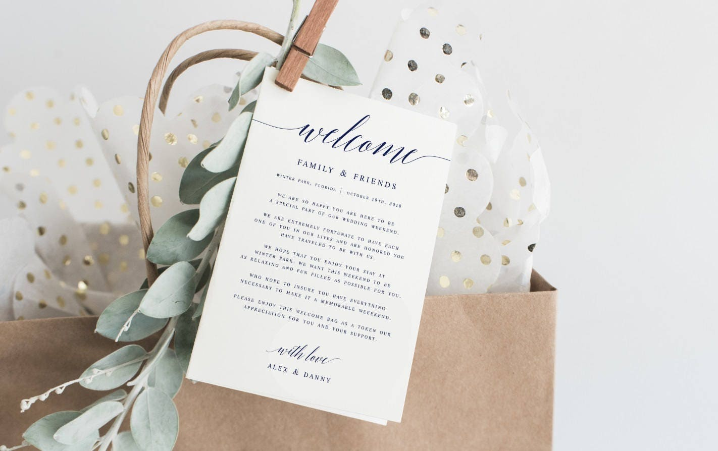 Navy Modern Calligraphy Welcome Wedding Letter Template