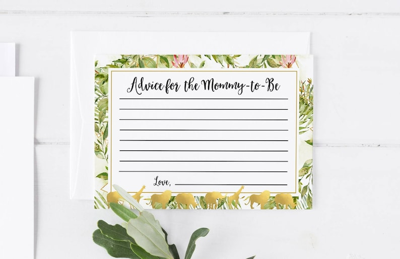 graphic regarding Printable Note Card referred to as Suggestions For the Mommy In the direction of Be Printable Take note Card Template Child Shower Playing cards Child Shower Invitation Template Kid Shower Activity Safari Greenery