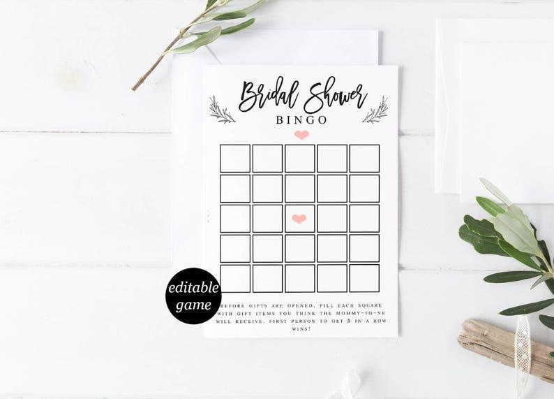 Bridal Shower Bingo Template Bridal Shower Games Template Etsy