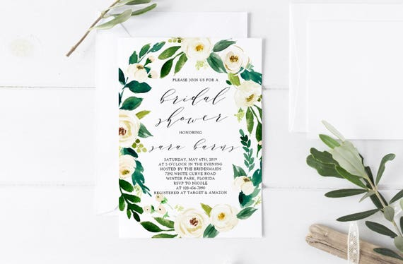 White Floral Bridal Shower Invitation Template Greenery Etsy