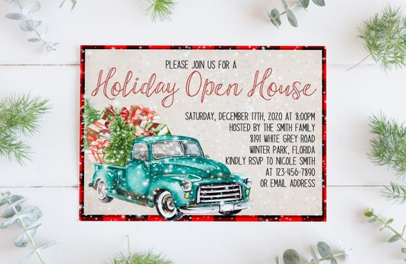 Holiday Open House Invitation Template Christmas Open House Etsy