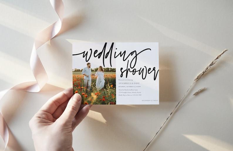 Photo Wedding Shower Invitation Template Modern Couples Shower Invite Simple Wedding Editable Invitation Corjl Template WP5677