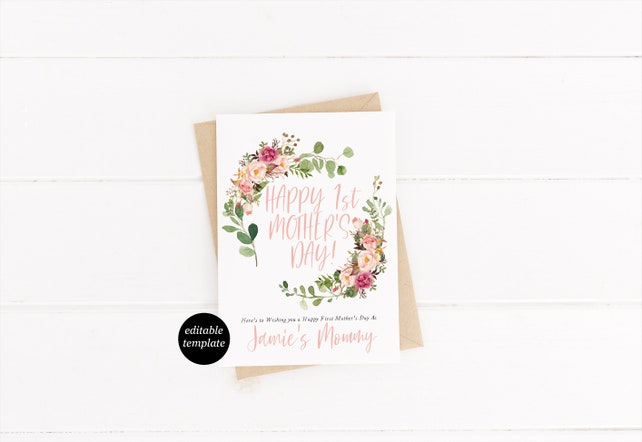 Bohemian Pink Greenery Mothers Day Card Template Happy First