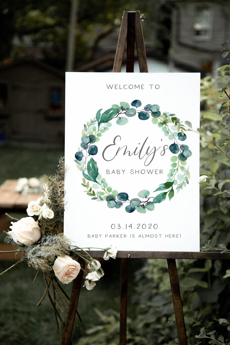 Greenery Baby Shower Welcome Sign Template Editable Template Welcome Baby Shower Printable 001 Eucalyptus Wreath Welcome Baby Shower