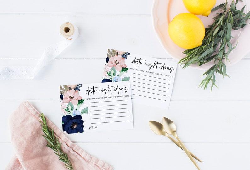 Navy Blush Date Night Idea Cards Wedding Date Ideas Printable Date Cards Date Idea Cards Bridal Shower Date Night Cards WP74-0