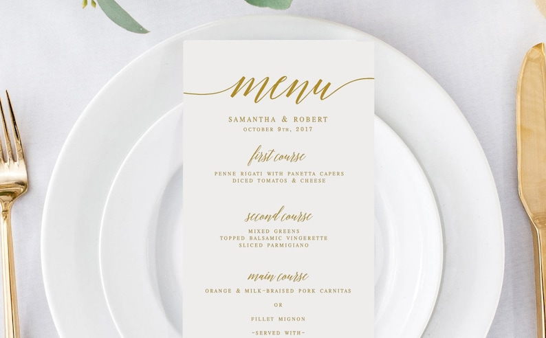 Wedding Menu Template.Gold Elegant Wedding Menu Template Wedding Menu Editable Wedding Menu Diy Black And White Menu Modern Wedding Menu Printable Menu