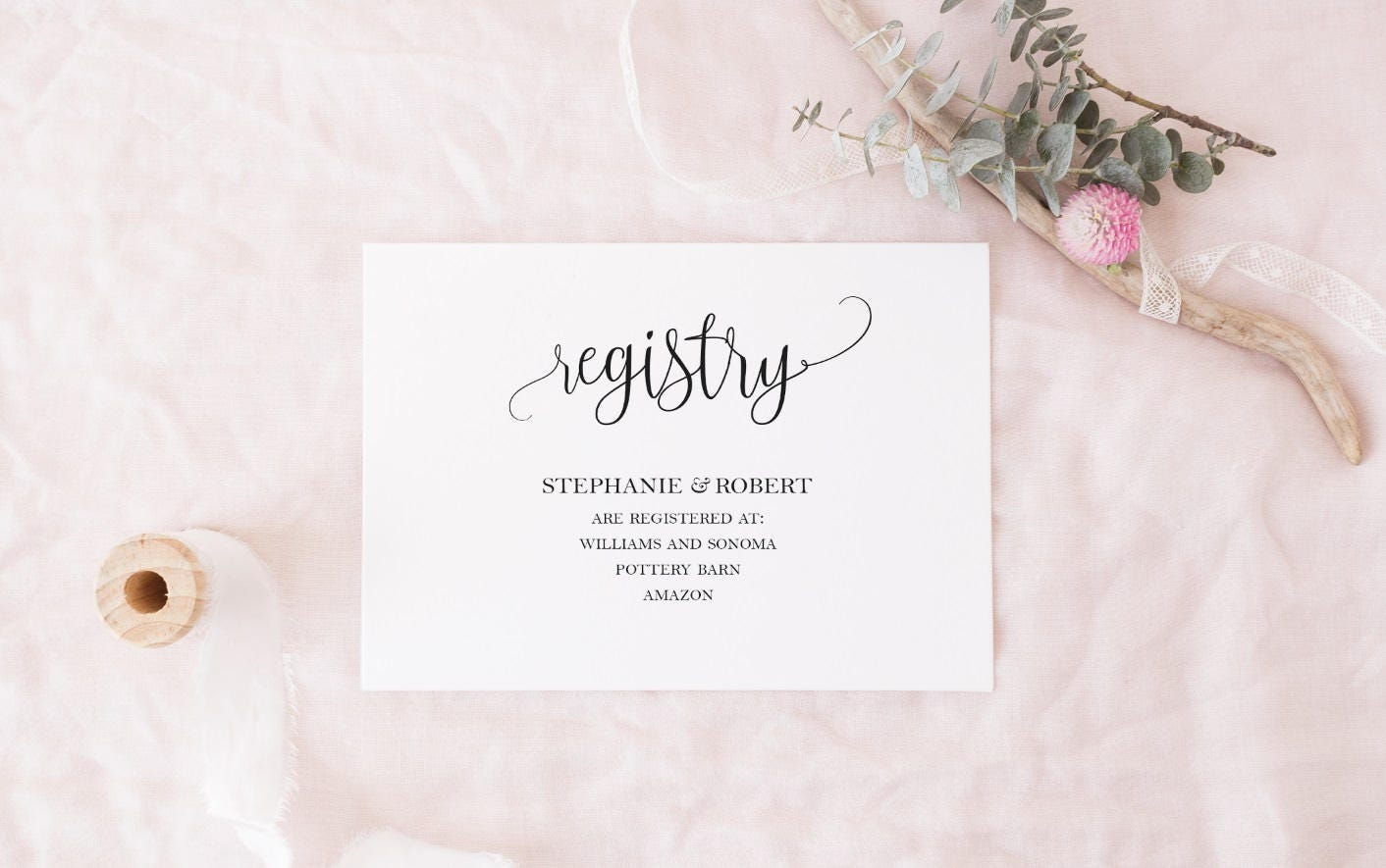 Black and White Registry Cards Template DIY Gift Registry Card | Etsy