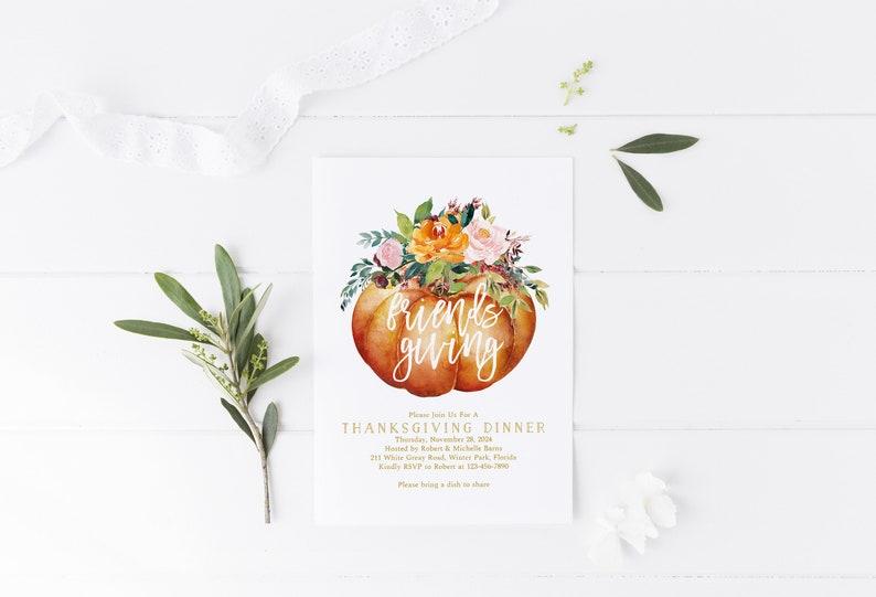 Friendsgiving Invitation Template Floral Thanksgiving image 0