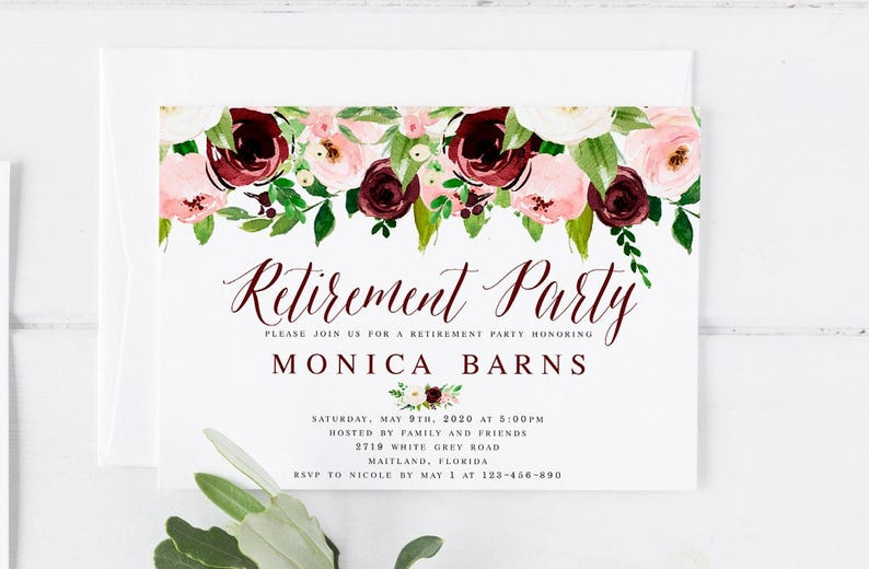 Bohemian Pink Blush Wine Retirement Party Invitation Template Printable Farewell Send Off Invite WP252