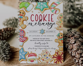 Christmas Cookie Exchange Invitation Template Editable Cookie Party Invitation Christmas Invitation Holiday Exchange Party Corjl WP284