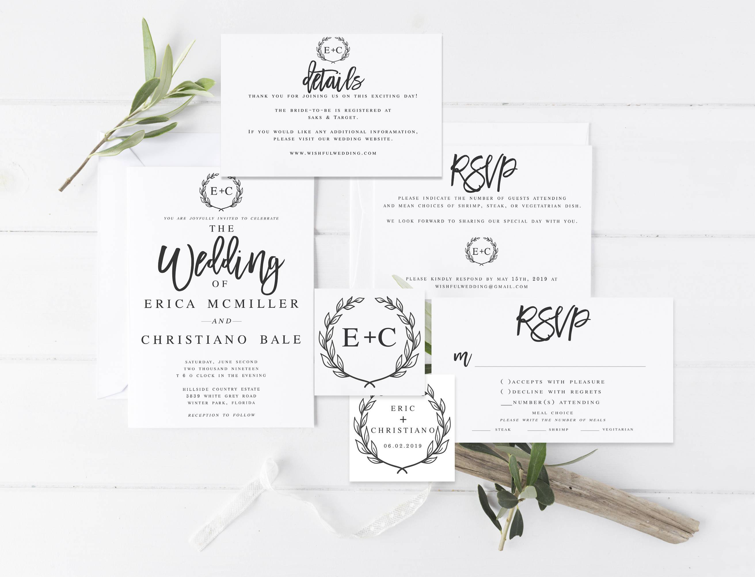 Modern Wedding Invites Uk: Modern Wedding Invitation Template Editable Wedding