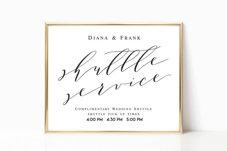 Shuttle Service Wedding Sign Template Wedding Shuttle Sign Template Wedding  Printable Shuttle Service Schedule Wedding Transportation #WP10