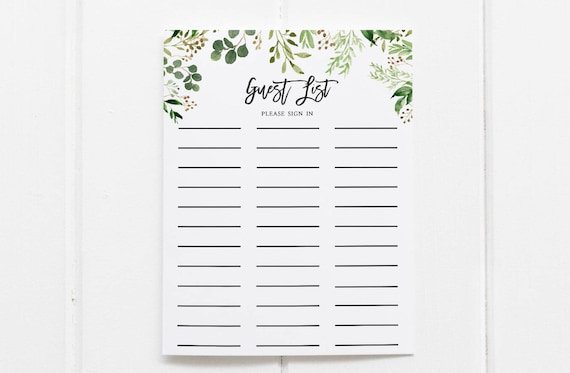 greenery guest list printable guest list sign in sheet etsy