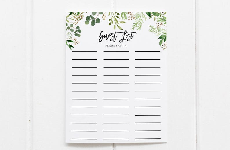 graphic regarding Printable Guest List referred to as Greenery Visitor Listing Printable Visitor Record Signal Inside of Sheet Guestbook Indicator within just Sheet Bridal Shower Visitor Listing Greenery botanical foliage