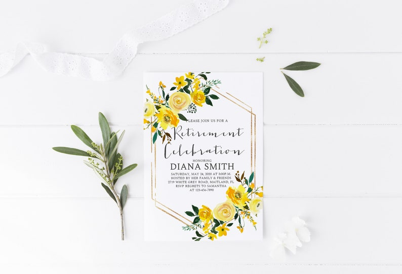 Yellow Floral Retirement Party Invitation Template Farewell Send Off Bohemian Greenery WP7