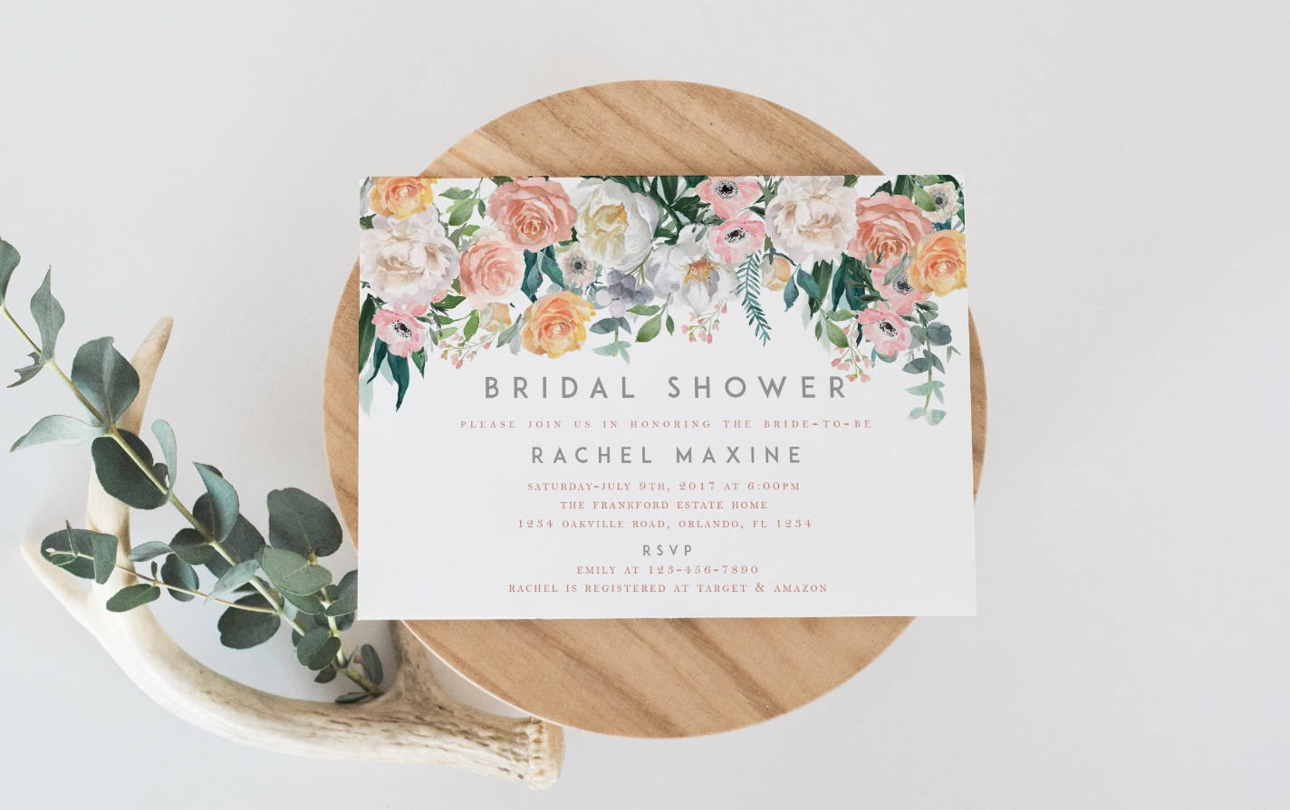 Floral Blush Roses Greenery Bridal Shower Template Diy Shower Etsy
