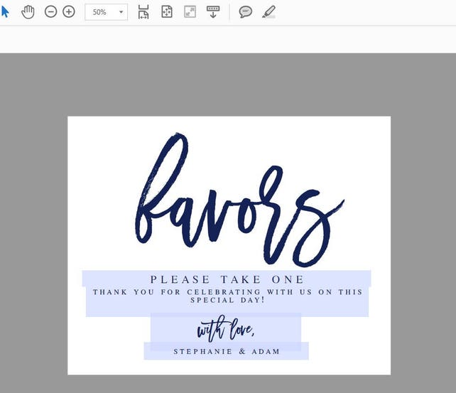 Navy Wedding Favors Sign Modern Wedding Favors Signs Wedding Guests