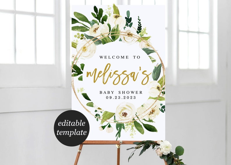 White Floral Baby Shower Welcome Sign Printable Template Etsy