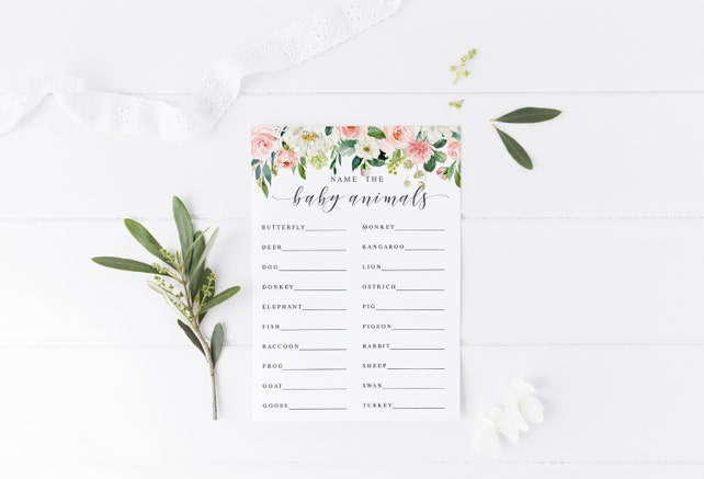 Blush Floral Name the Baby Animals Game Printable Baby Shower Game