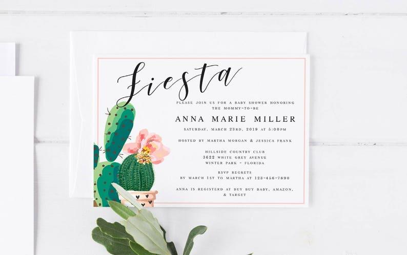 f1571ffaf Fiesta Floral Cactus Baby Shower Invitation Template DIY Baby | Etsy