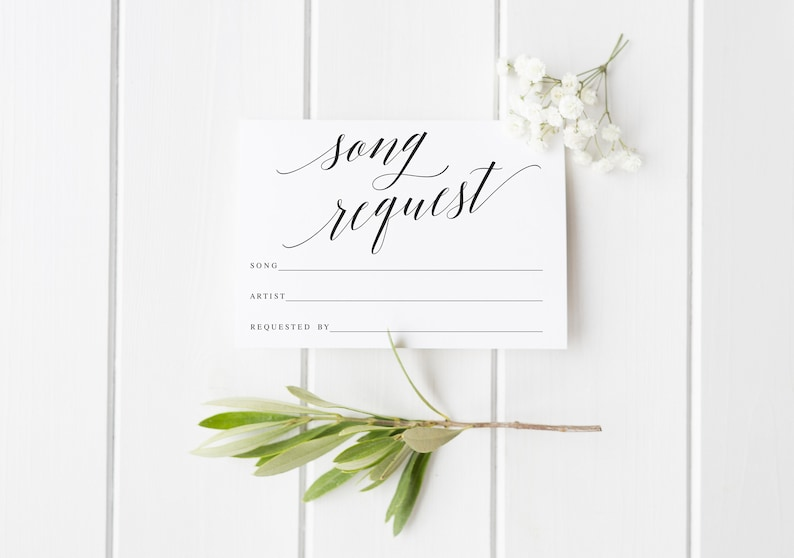 Elegant Song Request Card Printable Dance Request Card Wedding Song Request Card Music Request Card DJ Request Card #WP30