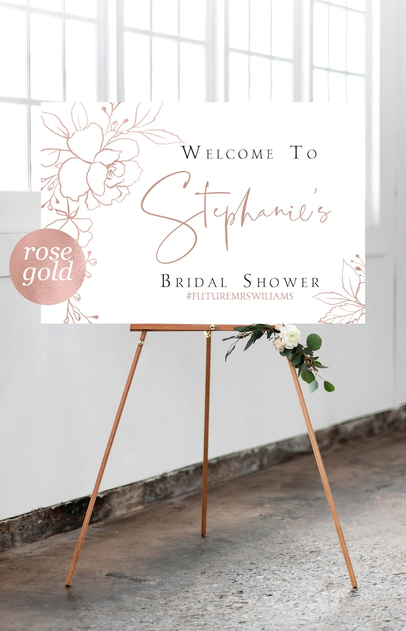 Welcome Bridal Shower Rose gold Hand sketched Rose Gold Welcome Sign Rose Gold Bridal Shower Welcome Sign Template Editable Template