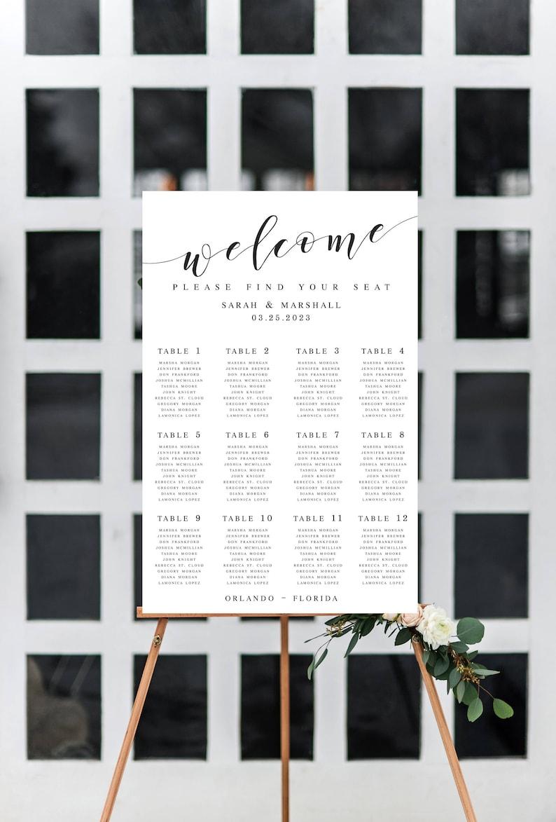 Elegant Large Wedding Seating Chart Template Seating Chart Printable Wedding Seating Chart Poster Template Editable Seating Chart Sign #WP20