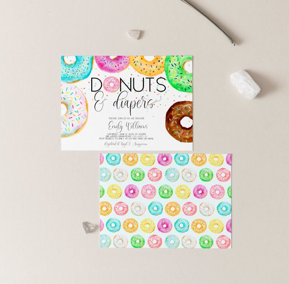 Donuts And Diapers Invitation Template Printable Donuts Baby Shower Invitation Sprinkle Donuts Gender Neutral Baby Sprinkle Invite Corjl 04