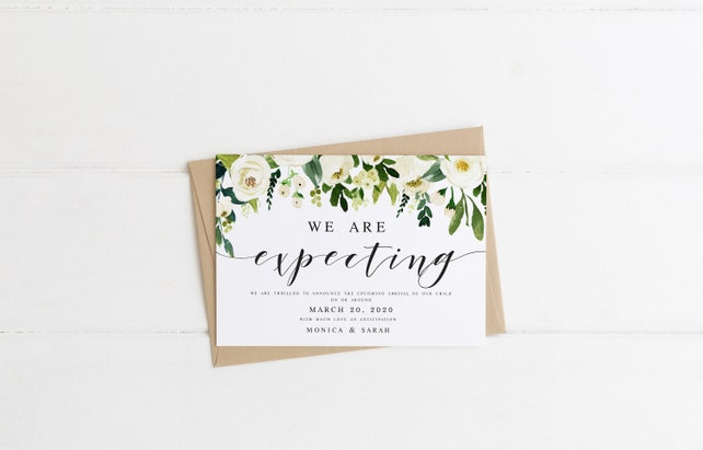 White Floral We Are Having A Baby Pregnancy Announcement Template