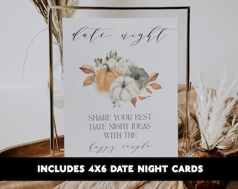 Fall Date Night Sign printable Date Night Cards Fall bridal Shower Pumpkin Fall Autumn Printable Shower Game 4x6 WP6829