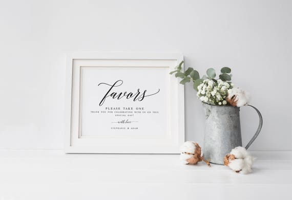Elegant Wedding Favors Sign Modern Wedding Favors Signs Etsy